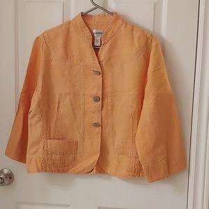 Chico's lightweight linen blazer peachy sz 2